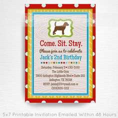 Red Brown Chocolate Lab Dog Birthday Party Printable Invitation YOU Print