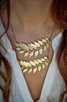 Leaves Ladder Raw Brass Necklace   SIMONA MAR