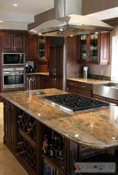 Cooktop In Island Design, Pictures, Remodel, Decor and Ideas - page 31 Kitchen Island With Cooktop, Island Cooktop, Kitchen Layouts With Island, Kitchen Islands, Island Stove, Island Bar, Discount Kitchen Cabinets, Rta Kitchen Cabinets, Outdoor Kitchen Countertops