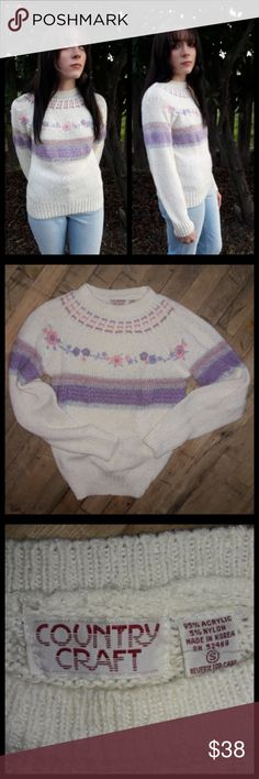 Sweet vintage 80's pastel sweater size Small! Adorable vintage sweater made by country miss. Velvet ribbon detail with sweet little flowers. Good vintage condition! Vintage Sweaters