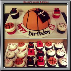 Miami Heat Basketball Cake and cupcakes