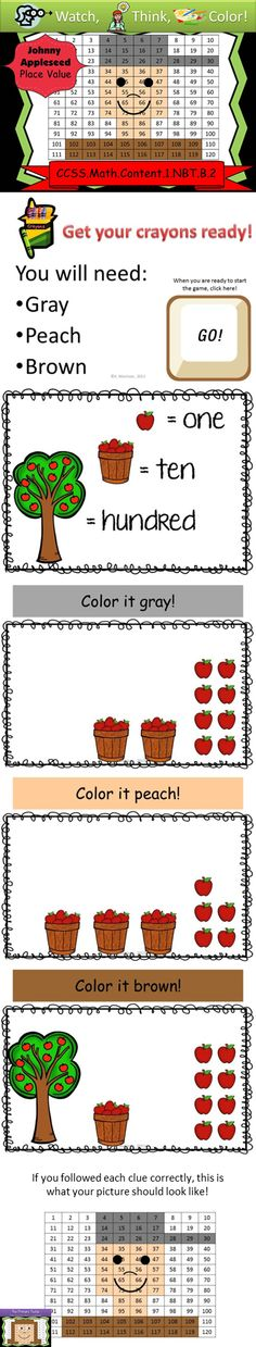 Celebrate Johnny Appleseed with some math practice! This powerpoint game keeps all your kids focused and engaged as they use place value skills to create a mystery picture! Super fun! Only $2!