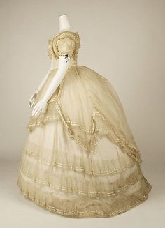 Ball gown, side view, 1869, British, cotton and silk.
