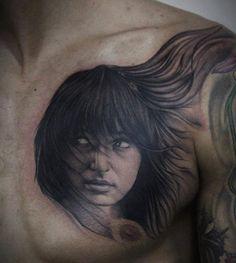 Human Portrait Tattoo (5) By Bacanu Bogdan #tattoo #cheltenham #cheltenhamtattoos #tattoos #realism #realistic #3D #black #grey #colour #shading #portrait #native #girl #woman #chest #hot #for #guys #men #no #regrets #studio #noregretsstudio