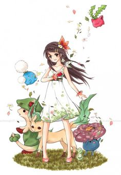 How pretty. I'd love to be that girl. ^////^ Grass pokemon
