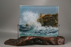 Fused Glass Waves on Beach