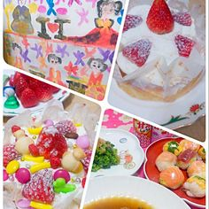 朝大量にすき煮を作りおきをして、 手鞠寿司&菜の花を夜に作って、 買ってきたケーキに娘が更にイチゴ&お菓子でトッピングを♪ - 42件のもぐもぐ - お雛様のお祝い夕食♪手鞠寿司&菜の花のお浸し&すき煮&買ってきたケーキにトッピングー(^_^)b by mkayo