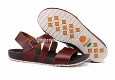 2017 New Timberland Men's Leather Beach Sandals Burgundy $ 48.00
