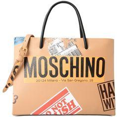 Moschino Handbag ($1,120) ❤ liked on Polyvore featuring bags, handbags, sand, handbags bags, moschino bags, moschino, handbag purse and moschino handbags