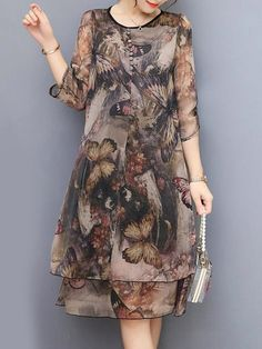 Hot-sale Vintage Floral Printed Sleeves Fake Two Pieces Dresses{ - NewChic Mobile. Frock For Women, Dress Shirts For Women, Chic Outfits, Dress Outfits, Fashion Dresses, Plus Dresses, Nice Dresses, Official Dresses, Hijab Fashionista