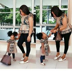 Trendyafrica: Top 35 2018 African Ankara fashion designs for mother and daughter Mother Daughter Matching Outfits, Mother Daughter Fashion, Mommy And Me Outfits, Couple Outfits, Family Outfits, Mother Daughters, Girl Outfits, African Dresses For Kids, Latest African Fashion Dresses