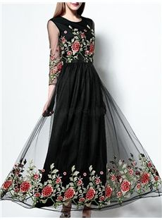 SheIn offers Black Round Neck Length Sleeve Contrast Gauze Embroidered Dress & more to fit your fashionable needs. Buy Gowns Online, Stylish Sarees, Grad Dresses, Embroidery Fashion, Mode Hijab, Designer Gowns, Beautiful Gowns, Marie, Evening Dresses
