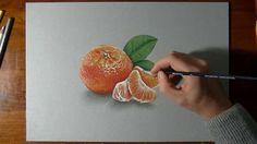 How I draw a mandarin orange - realistic drawing