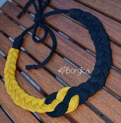 Elegant Gold Black Nautical Knot Bib Braided Necklace por Borgica