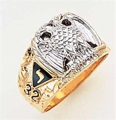 32 Degree Scottish Rite Masonic Ring - 10k two tone scottish rite ring Solid Back