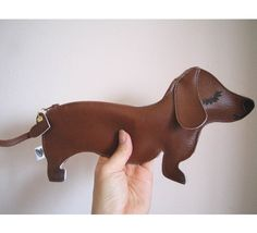 BBQ the Dachshund Dog Cute Vintage Inspired Brown Vinyl by Cuore, $28.00