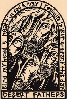 The Desert Fathers linocut portrait prayer Christian saints icon Woodcut Art, Linocut Prints, Art Prints, Bride Of Christ, Orthodox Icons, Art Graphique, Sacred Art, Christian Art, Religious Art