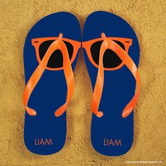 Sunglasses style flip flops Can be personalised with name. The straps and soles of the flip flops are orange. Available in several colourways. Size Guide: Large  10 - 12,  Medium  7 - 9, Small  4 - 6. Product Specification Length: 25cm Width: 10cm Height: 1.5cm Weight : 190g Shipping Weight: 250g What Can I Put On Holiday Style Personalised Adult Flip Flops in Blue and Orange? Personalise up to 14 character each heel. Eg Terry. Who Is The Gift Ideal For? Perfect seasonal Gift for your…