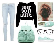 """""""Lazy School Outfit"""" by marsophie ❤ liked on Polyvore featuring T-shirt & Jeans, Frame Denim, Vans and Ray-Ban"""