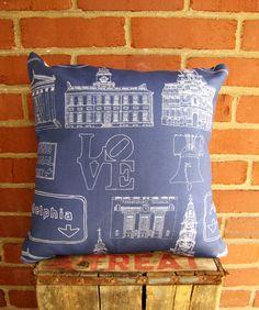 Philadelphia Landmark Pillow  Blue  Tan by BrickAndMortarDesign, $52.00