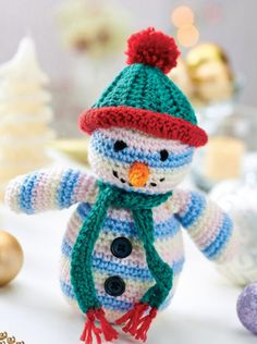 2000 Free Amigurumi Patterns: Crocheted snowman toy