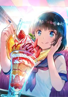 anime with icecream Pretty Anime Girl, Beautiful Anime Girl, Kawaii Anime Girl, Anime Art Girl, Anime Love, Manga Art, Anime Girls, Anime Girl Drawings, Anime Artwork