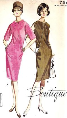 1960s Misses Diagonally Seamed Summer Dress