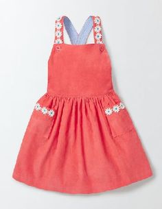 #Mini #Twirly #Pinafore #Dress #Coral #Crush #Girls #Boden, #The full #gathered #skirt of this #knee-length #dress is #perfect for some #serious #spinning #around. Its soft #cotton cord #fabric and #elasticated #waist keep you #comfortable as you show off all your best #dance #moves, #while #appliqué #daisies add a #touch of 3D #floral fun to this party outfit.
