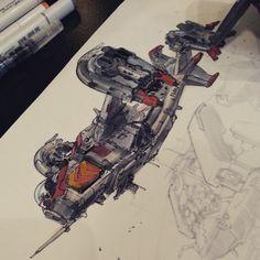 Spaceship sketch by Tony Leonard