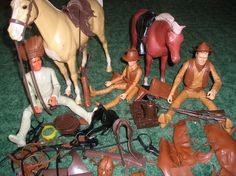 1970s Marx Toys Johnny West and Geronimo Action Figures with horses - Thunderbolt and Poncho