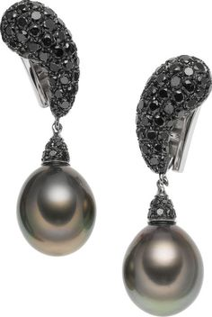 South Sea Cultured Pearl, Diamond,and White Gold Earrings