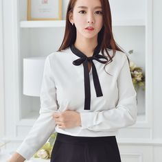 >> Click to Buy << Korea Style Spring New Women Fashion Blouse with Bow Tie Chiffon Shirt Ladies Sweet Casual Shirt White Top #Affiliate