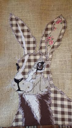 Rabbit/Hare cushion patchwork free motion embroidered envelope opening inner included