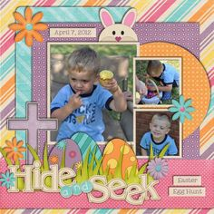 Bright & Colorful Easter Egg Hunt Page... #scrapbooking #inspiration
