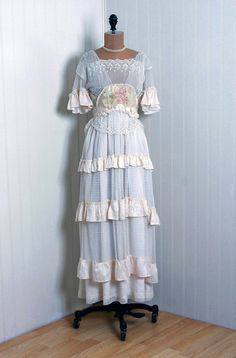 1910s, French.  Ivory-White Embroidered Mixed-Lace & Floral-Silk Couture Edwardian Applique-Roses Goddess Tiered-Ruffle Wedding Dress