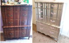 Elegantly Done… Doing It Yourself, Nina's Way: Aluminum (Silver) Leafed French Provincial Furniture… COMPLETED – Before and Afters Remodel Ideas Gold Leaf Furniture, Paint Furniture, Furniture Making, Furniture Makeover, Bedroom Furniture, Refinished Furniture, Mirrored Furniture, Chair Makeover, Diy Projects Design