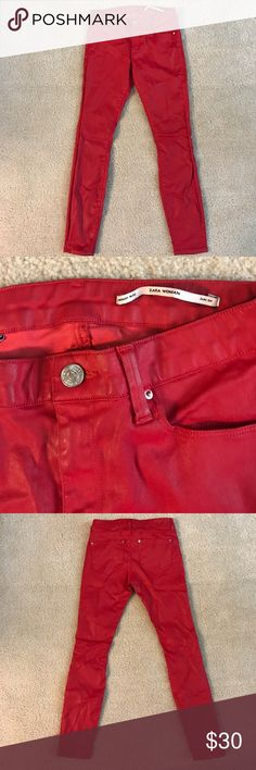 Zara Red Coated Slim Fit Jeans Fire engine red jeans with a shiny coating by Zara. Medium rise and slim fit. Only sign of wear is some darkening of the coating around the zipper area, which I can't capture on the pictures (it's barely noticeable anyhow). Zara Jeans Skinny