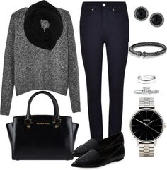 Andrea Moda y Asesoría: Blusa gris jaspeada Pantalón azul oscuro FW15-16