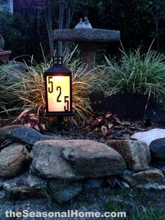 Very cool, homemade $8 solar address lantern for your front garden. DIY tutorial and alternative decorating ideas (for it) are all on https://theseasonalhome.com #Top_Gerden_Decor_Ideas #Best_Gerden_Decor #Garden_Design