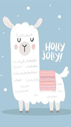 Fond d'écran lama holly jolly – - Weihnachten Wallpapers Rosa, Cute Wallpapers, Wallpaper Backgrounds, Iphone Wallpaper, New Year Wallpaper, Christmas Wallpaper, Alpacas, Illustration Noel, Illustration Flower