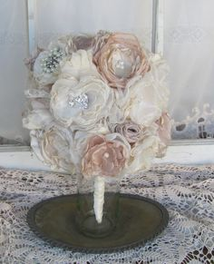 Items similar to Wedding Bouquet Rhinestone and Pearls with fabric rosebuds Custom Made by Burlap And Bling Design Studio on Etsy Bride Bouquets, Rose Buds, Vows, Burlap, Wedding Flowers, Bling, Pearls, Fabric, Etsy