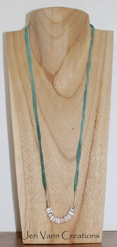 Teal Silk Cord with Silver Tube Beads and Puka Shell Necklace