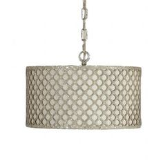 Vera Pendant   Gabby   SCH-240345  The Vera Pendant light features detailed metal latticework surrounding a neutral linen shade. The realistic chipped antique silverleaf finish brings an old world feel to a modern form.  http://www.gabbyhome.com/Store/22286/Lighting/263063/Vera-Pendant/page/3