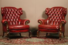 Italy X2 Wingback Chair Leather Chesterfield Lounge OX Blood RED French Antique | eBay