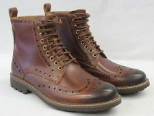 CLARKS MENS BROGUE ANKLE BOOTS ' MONTACUTE LORD' DARK TAN LEATHER
