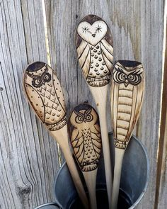 Wood burned owl spoons - craft ideas