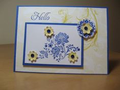 Stampin Up Fresh Vintage in blue and yellow. Refreshingly different.