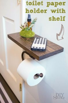 DIY Shelves and Do It Yourself Shelving Ideas - Toilet Paper Holder Shelf - Easy Step by Step Shelf Projects for Bedroom, Bathroom, Closet, Wall, Kitchen and Apartment. Floating Units, Rustic Pallet Looks and Simple Storage Plans http://diyjoy.com/diy-shelving-projects