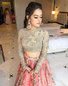 Simple Designer light pink color embroidery lehenga choli for bridal look.For order WhatsApp on draping styles dress for bride indian dresses indian teens wedding outfits sisters blouse designs indian with dress blouse designs dresses indian Indian Bridal Outfits, Indian Designer Outfits, Indian Wedding Gowns, Lehenga Wedding, Floral Lehenga, Lehenga Choli, Lehenga Blouse, Pink Lehenga, Sabyasachi