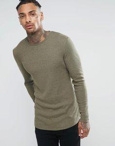 Image 1 ofASOS Rib Longline Muscle Long Sleeve T-Shirt With Curved Hem In Khaki